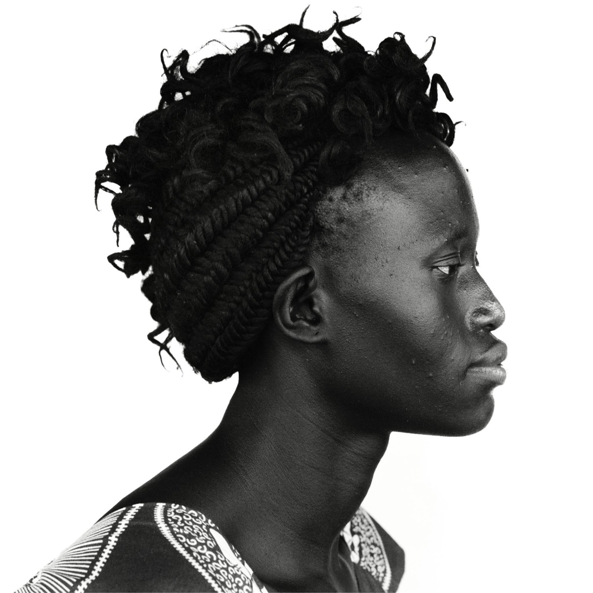 Black and white shot of an African women looking to the right